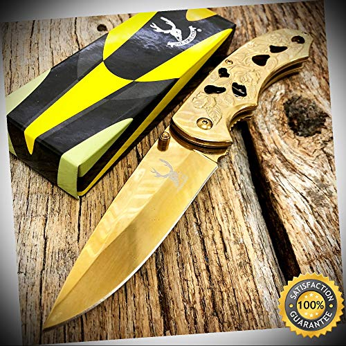 8'' GOLD Rose Design Spring Assisted Sharp Pocket Knife CLIP - Outdoor For Camping Hunting Cosplay - Wolverine 8' Boot