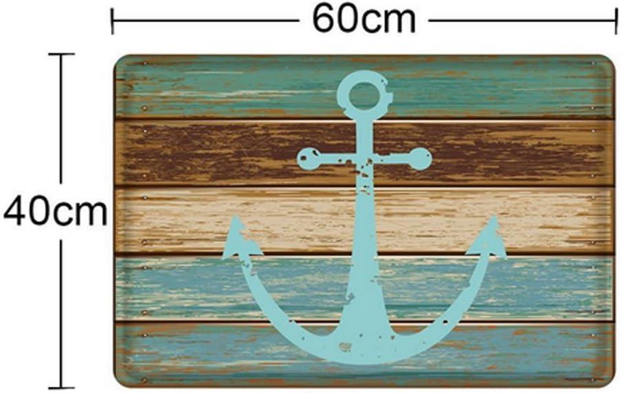 Blue Nautical Anchor WCOCOW Blue Nautical Anchor Rustic Old Barn Wood Doormats Non-Slip Indoor//Outdoor//Front Door Mat,40x60cm