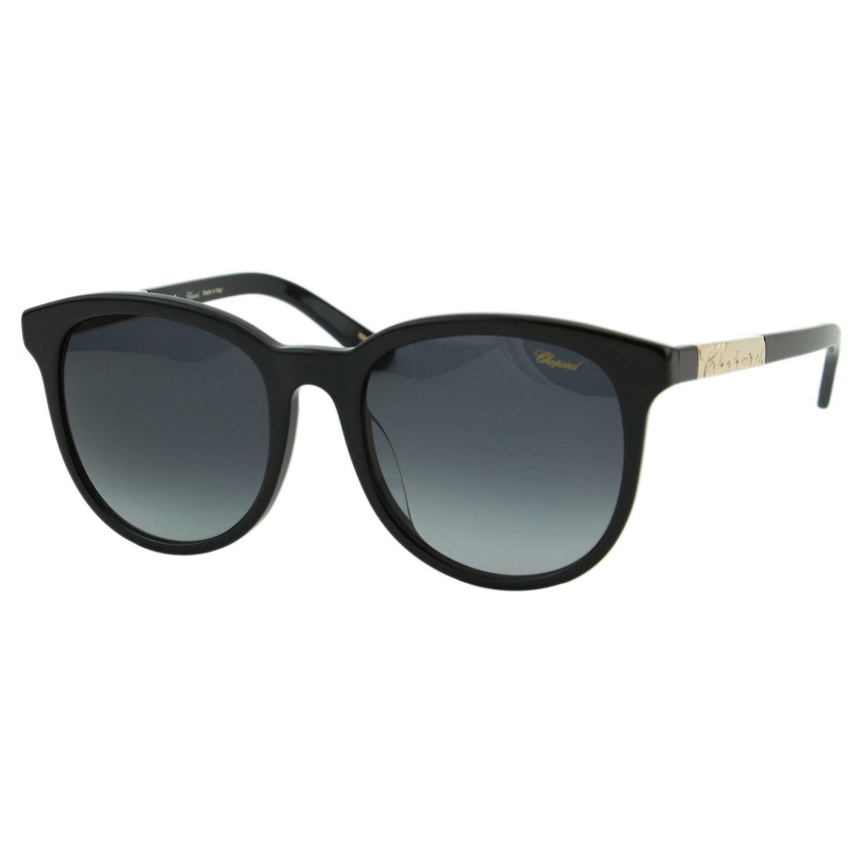 Chopard SCH171G Women Black & gold Signature Metal Plate Round Fashion Designer Eyewear Sunglasses 55mm