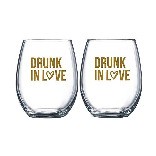 drunk in love stemless wine glass set of 2 wine glass wedding favor drunk on love