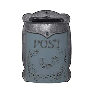 "The Nifty Nook I Vintage Style Post Box I Nostalgic Charm Home Decor I Farmhouse Design I 15.9"" Height x 11"" Wide (Blue)"