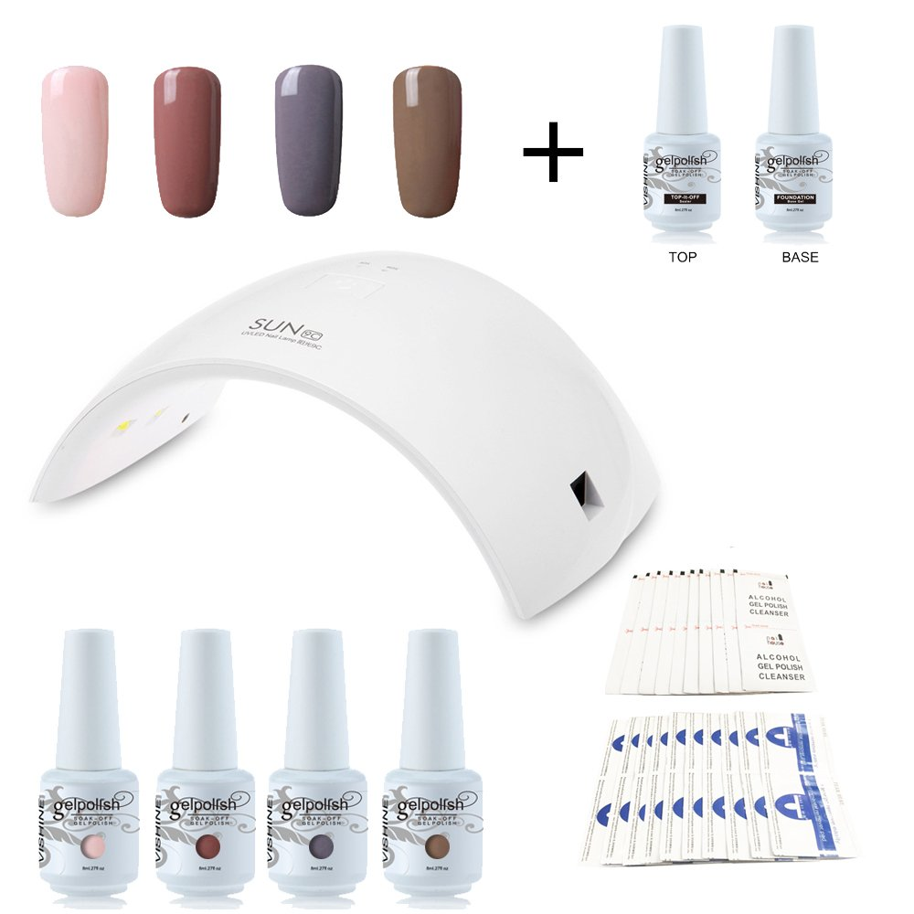 Vishine Nail Starter Kit 4 Colours Soak Off Gel Polish & Top Base Coat, 36W Professional LED Gel Lamp, Remover & Cleanser Manicure Nail Art Tool #C010