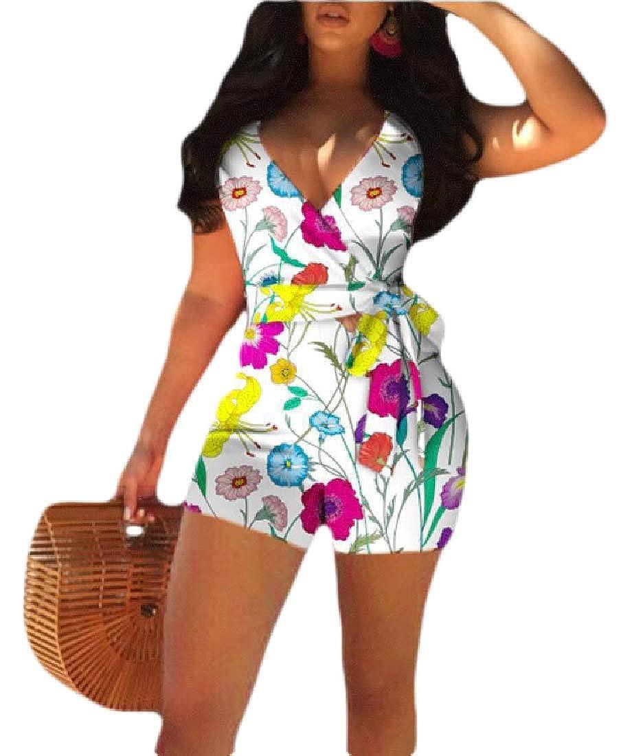 HTOOHTOOH Women Fashion Jumpsuits Floral Print Spaghetti Straps Sleeveless Rompers