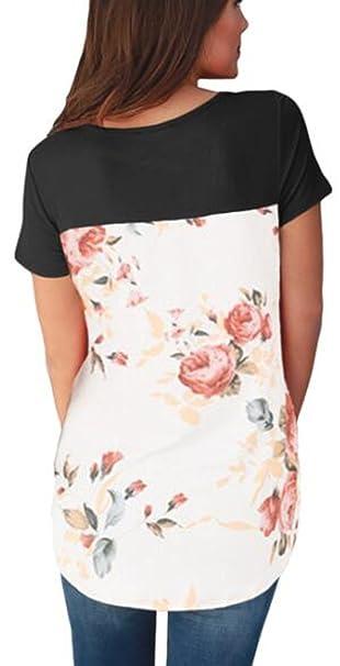 Amazon.com: YLOVE Blusa de manga corta con estampado floral ...