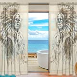 Native American Indian Art Prints Window Sheer Curtain Panels, 2 PCS 55x78 inch, Gauze Curtain for Living Room Bedroom Home Decor