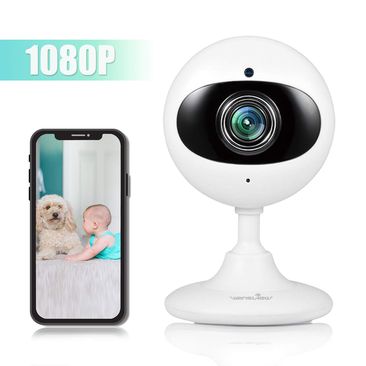 Wansview Wireless Security Camera, 1080P Home WiFi Surveillance Indoor IP Camera for Baby/Elder/Pet/Nanny Monitor with Night Vision and Two-Way Audio-K3 (White) by Wansview