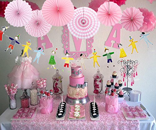 AYUQI Hanging Birthday Party Decoration Kit Colorful Paper Fans Hanging Party Decoration Set Home Decoration Set of BirthdayParty Supplies Favors(Pink) by AYUQI (Image #2)