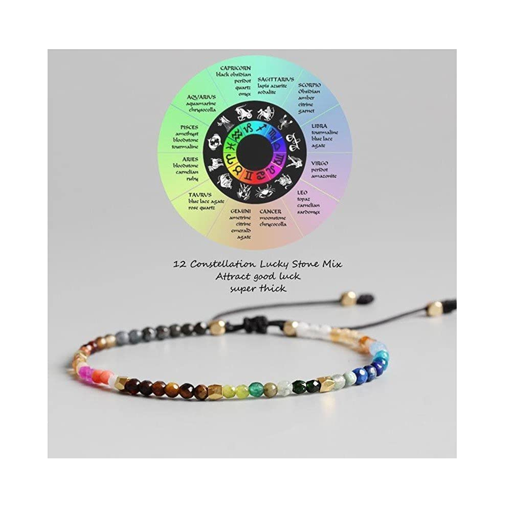 f1d09477432243 Amazon.com: Rhdun 12 Constellation Meditation Beads Bracelet for Women 7  Chakra Bracelets Bohemian Lucky Stone: Jewelry