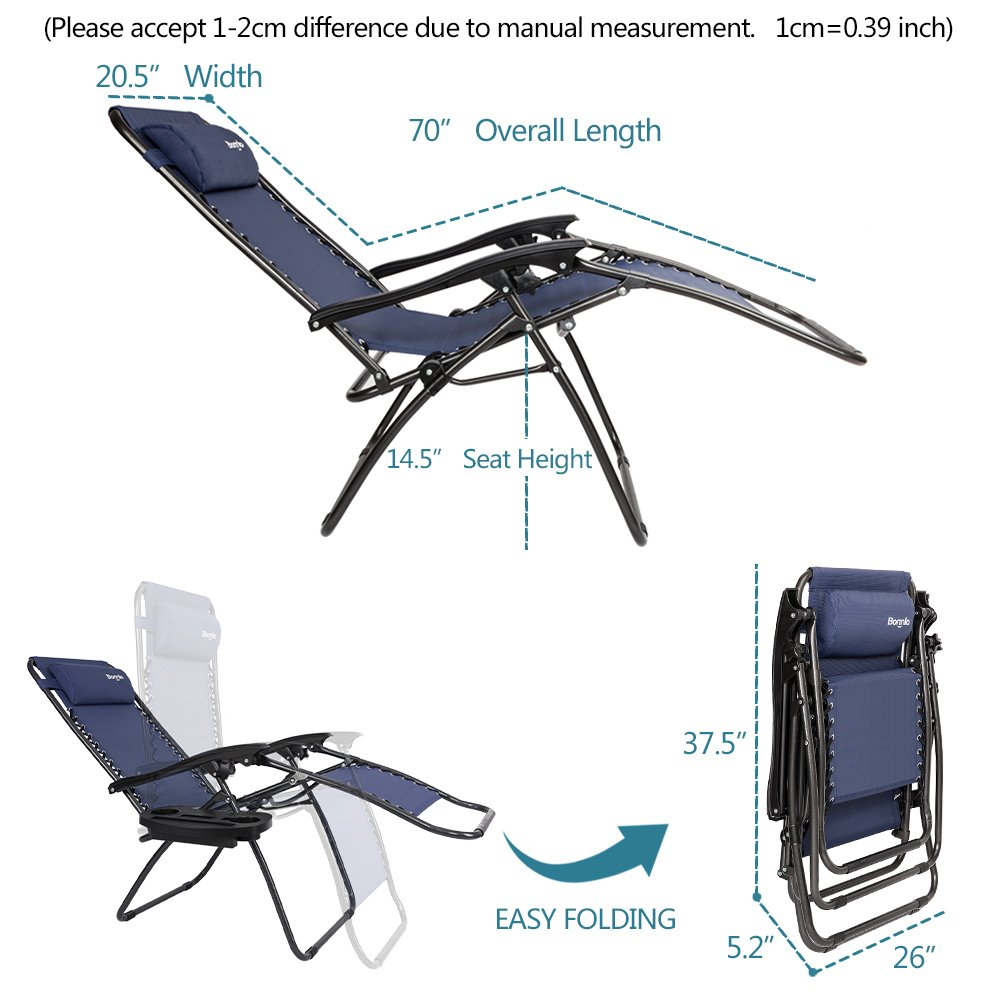 Bonnlo Infinity Zero Gravity Chair, Outdoor Lounge Patio Chairs with Pillow and Utility Tray Adjustable Folding Recliner for Deck,Patio,Beach,Yard Pack 2(Blue) by Bonnlo (Image #5)