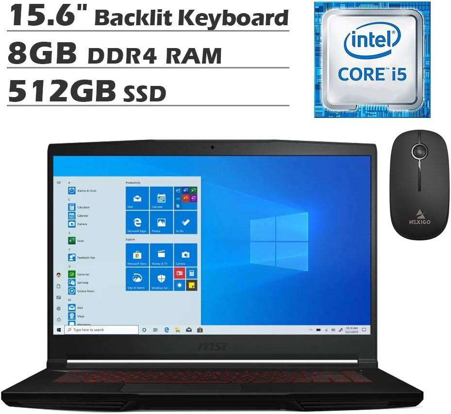 2020 Newest MSI GF63 15.6 Inch FHD 1080P Gaming Laptop| Intel Core i5-9300H up to 4.1GHz| GeForce GTX 1050 Ti 4GB| 8GB RAM| 512GB SSD| Backlit KB| Windows 10 + NexiGo Wireless Mouse Bundle