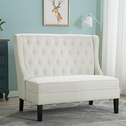 Modern Settee Bench Banquette Loveseat Sofa Button Tufted Fabric Sofa Couch  Chair 2 Seater (