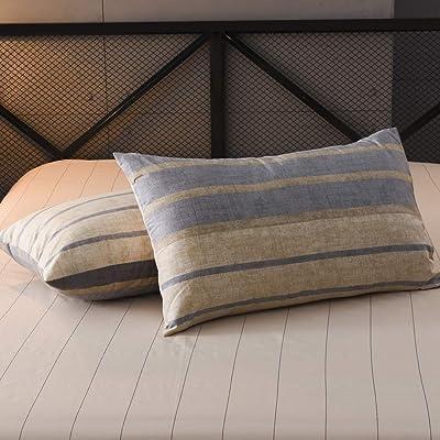 "LifeTB Striped Pillowcases Set King Pillow Shams Cotton Bedding Pillow Covers Geometric Stripe Pillow Shams for Teens Men Boys Home Decorative Pillowcases King, Envelope Closure, (2pcs, 20""×36""): Home & Kitchen"