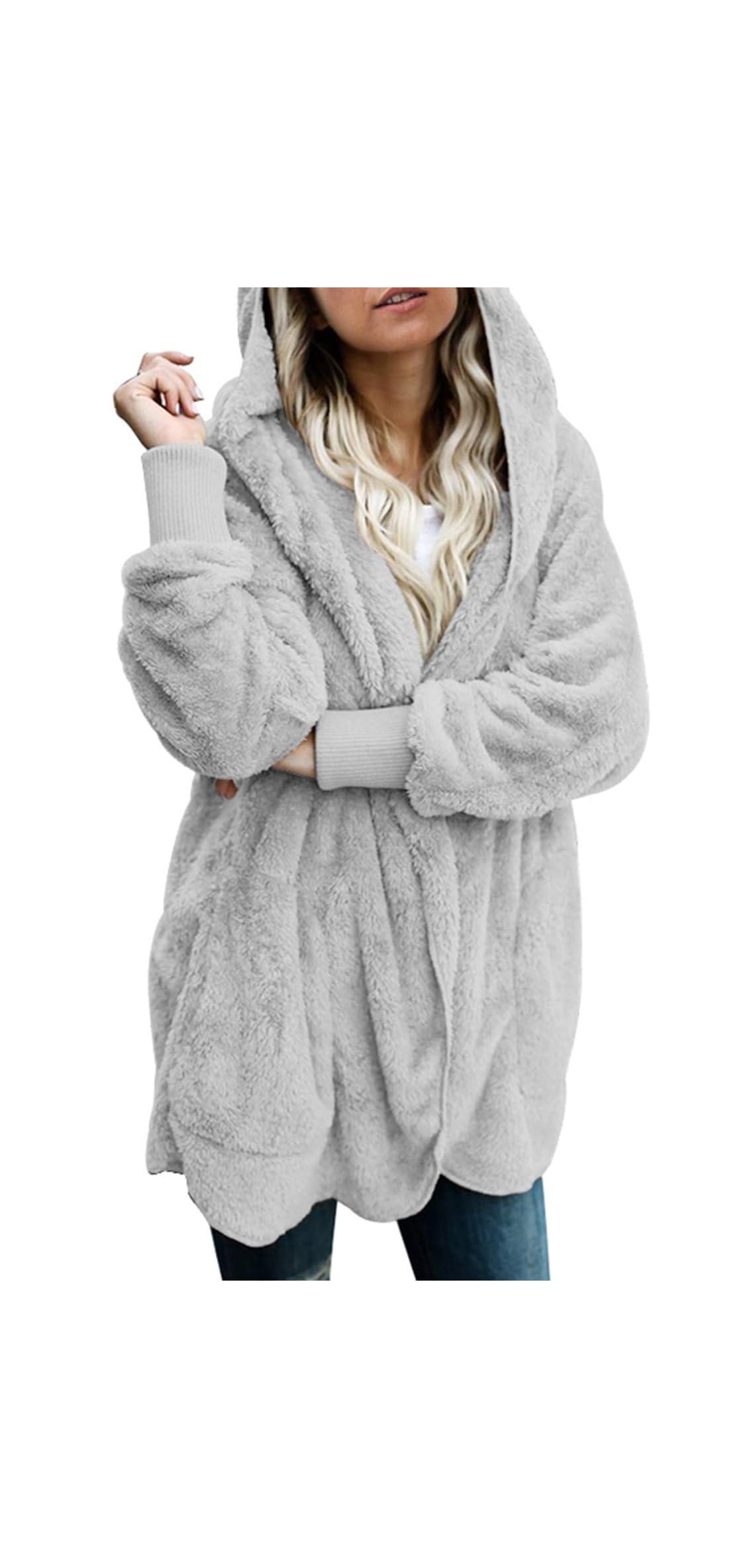 Womens Long Sleeve Solid Fuzzy Fleece Open Front Hooded