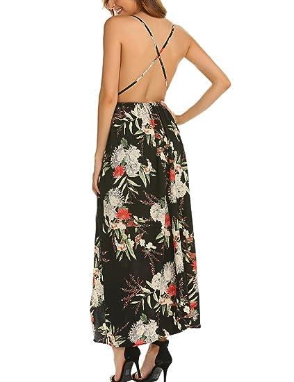 848fbdea8e3 MISELON Women s Sexy Cross Back Sleeveless Backless Floral Print Casual  Party Maxi Long Dress Black S