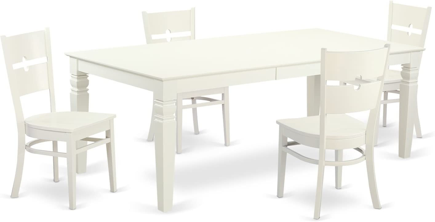 LGRO5-LWH-W 5 Pc Dinette set with a Table and 4 Kitchen Chairs in Linen White