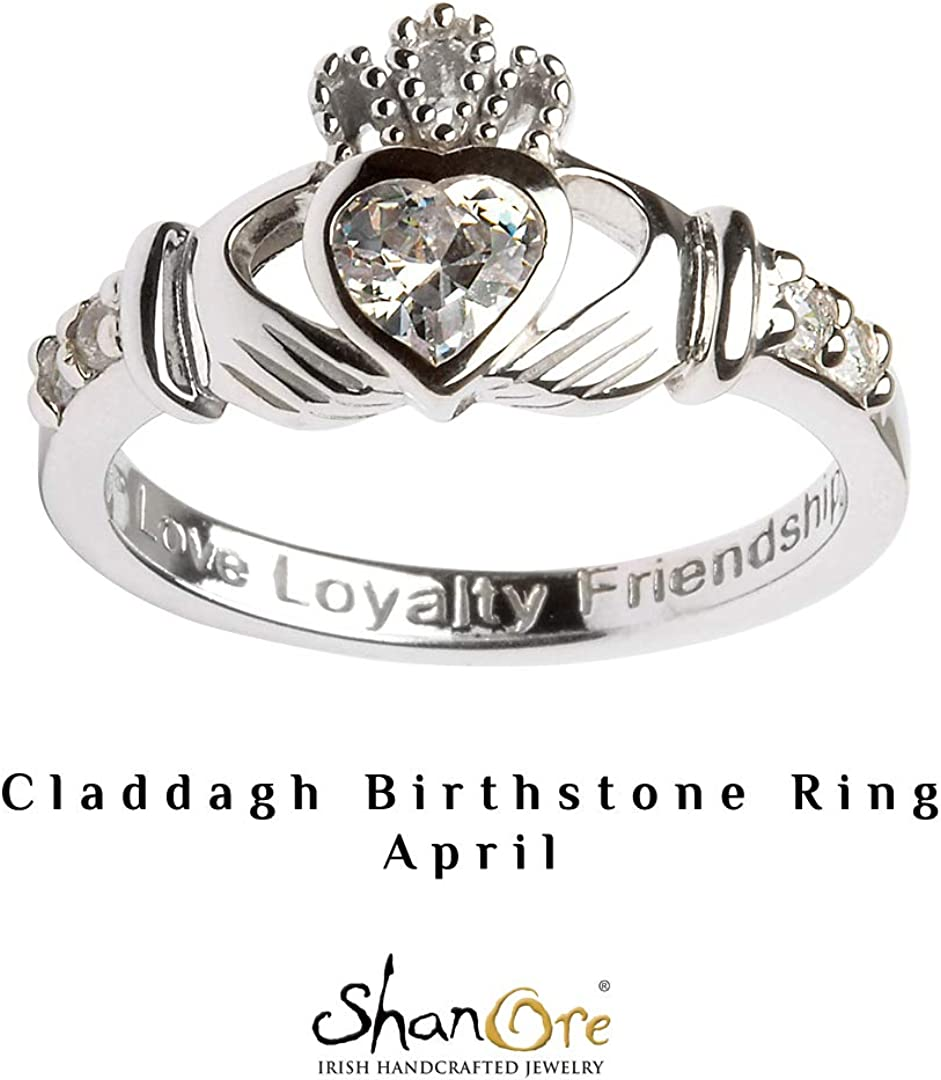 Hallmarked Sterling Silver Claddagh Birthstone Ring April