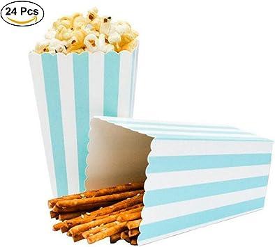 Ouinne Cajas de Palomitas, 24PCS Popcorn Boxes Maíz Envases del Sostenedor Cajas de Cartón de Bolsas de Papel para el Partido (Azul): Amazon.es: Juguetes y juegos