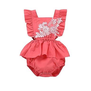 4dd61edac8d Cuekondy 2019 New Fashion Newborn Toddler Baby Girls Romper Bodysuit Cute  Embroidered Floral Ruffle Summer Jumpsuit