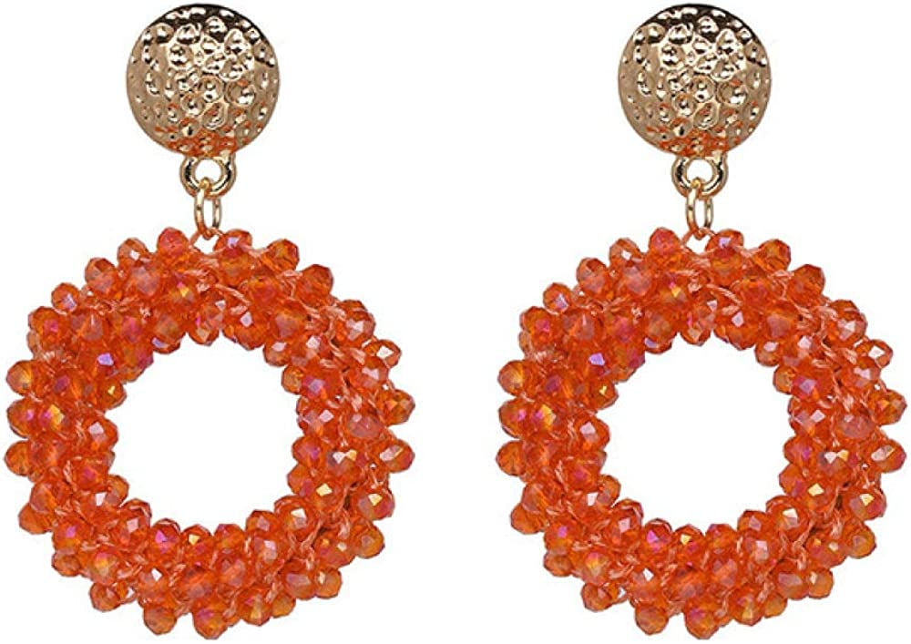 EHUNDZ Pendientes colgantes de cristal de joyería colorida de moda Pendiente redondo de gotas para mujer