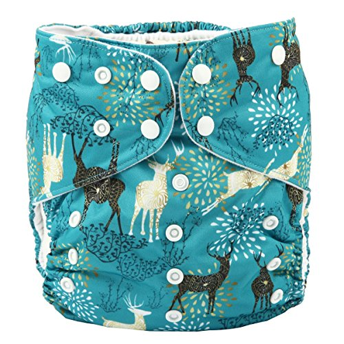 Sigzagor 2 to 7 Years Old Junior Big Cloth Diaper,Nappy,Pocket Reusable Washable,Baby Kids Toddler (Forest Deer)
