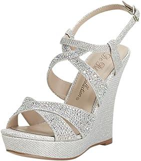 b20ee0849083 David s Bridal High Heel Wedge Sandal with Crystal Embellishment Style  BALLE8