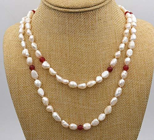 (FidgetKute Pretty Natural 8-9 mm Freshwater Baroque Pearl & Red Jade Jewelry Necklace 36