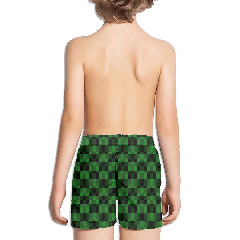 FullBo Modern Stylish Irregular Checkerboard Little Boys Short Swim Trunks Quick Dry Beach Shorts