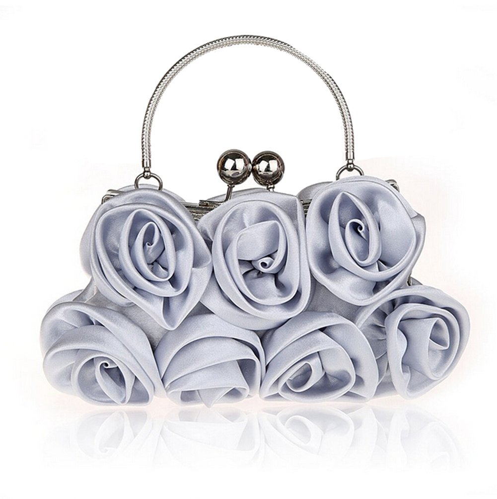 E-TDPAC Women Elegant Satin Rose Evening Handbag Clutch Bag (Silver)