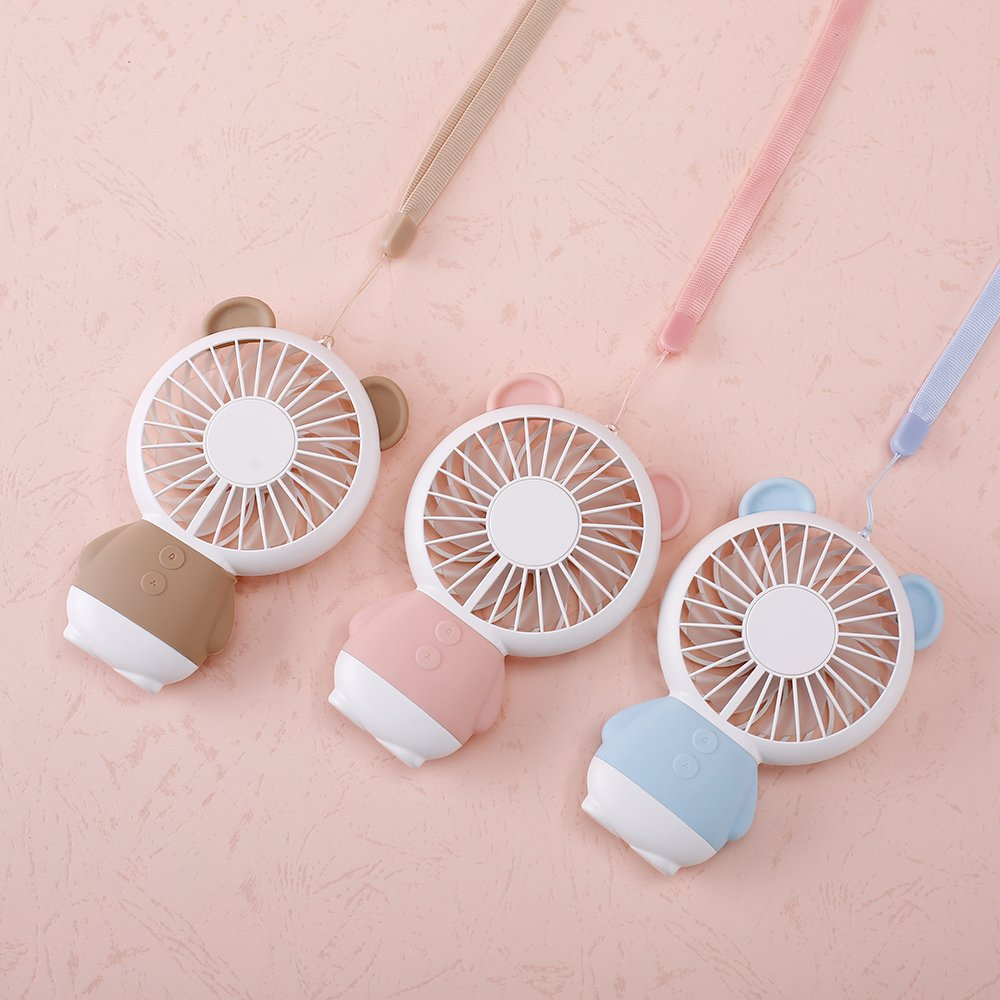 TechCode Handheld Electric Fans, Cute USB Charger Noiseless Fans 2 Speed Adjustable Rechargeable Handhold Portable Personal Fans Creative Cooling Mini Fan with Colorful Led Night Light (Brown) by TechCode (Image #6)