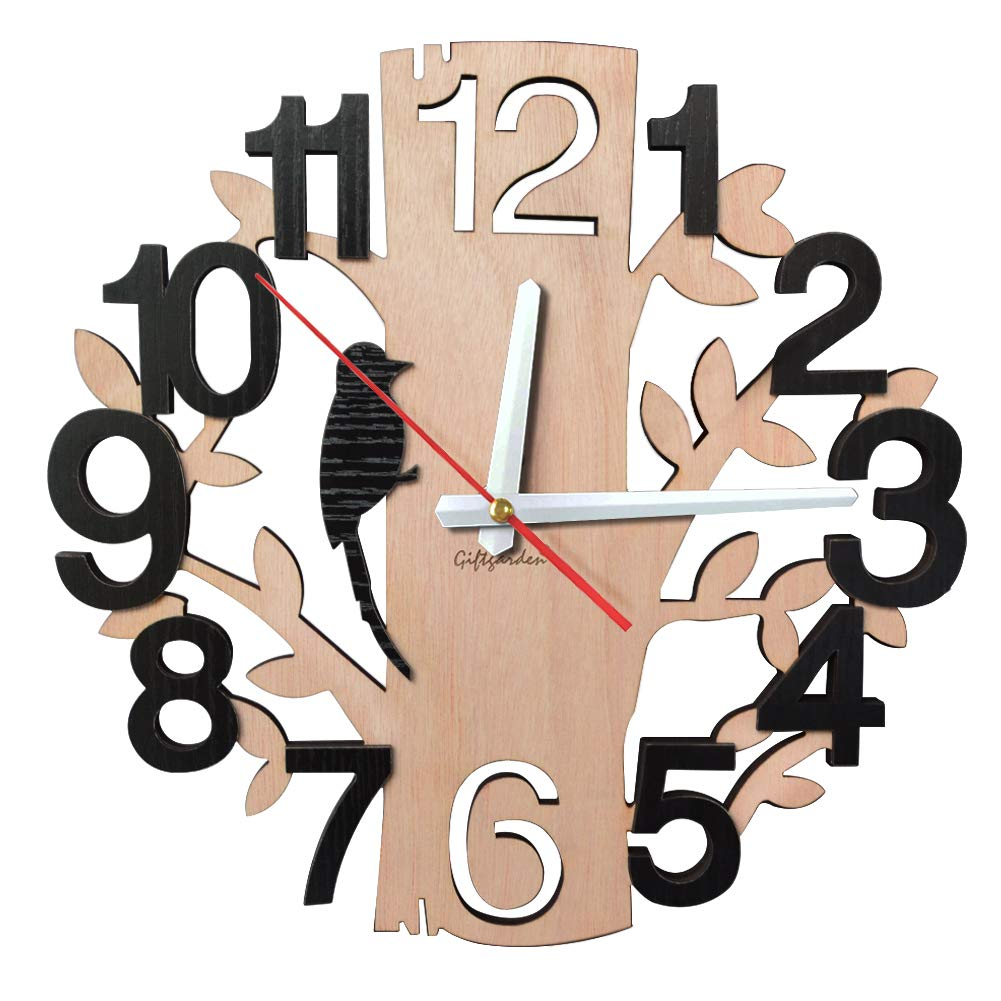 Giftgarden 12 inch Wall Clock Silent Non Ticking Quartz Movement 3D Tree Shaped Clock Indoor Kitchen Livingroom Wall Decor