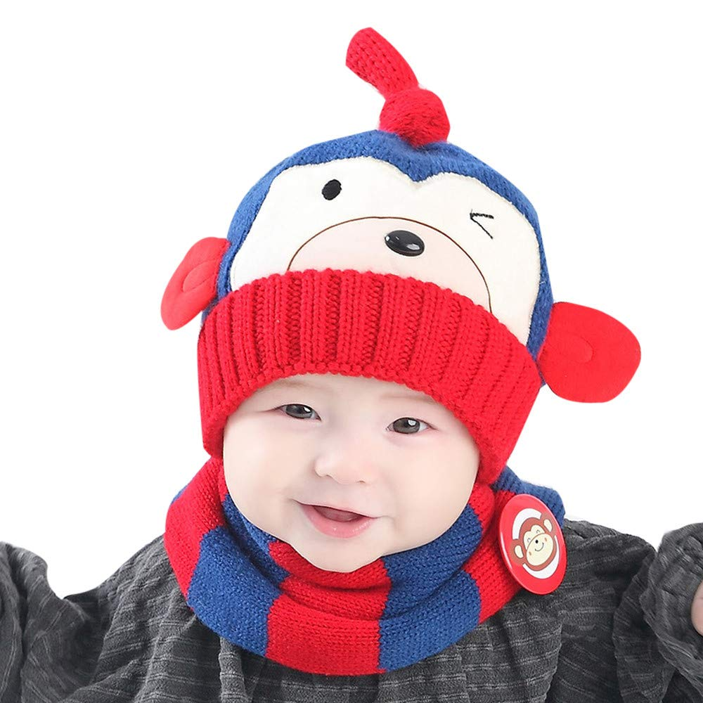 1fdc1b2c376777 Toddler Winter Hat 1-4Year Baby Kids Warm Knit Beanie Cap Cute Monkey Hat  Scarf Set (Blue) at Amazon Women's Clothing store: