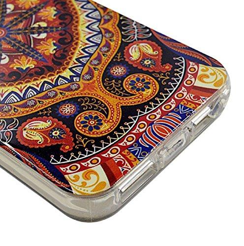 Amonfineshop Bunte Weinlese-Malerei-Muster-TPU Papiereinband-Fall für iPhone 5 5s