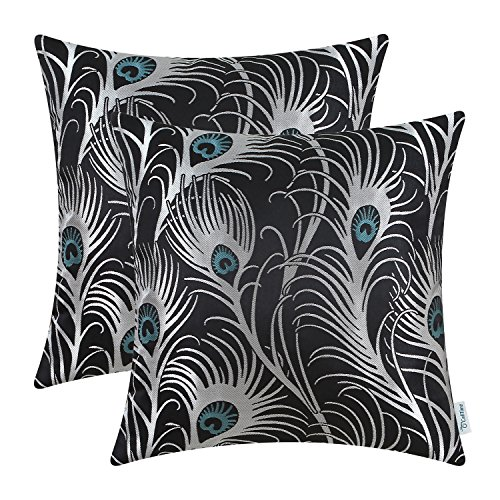 CaliTime Pack of 2 Throw Pillow Covers Cases for Couch Sofa Home Decoration Modern Peacock Feathers 18 X 18 Inches Black (Sale Large Peacock For Feathers)