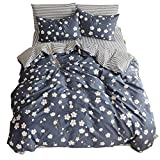Jane yre Girls Duvet Cover Sets King Vintage Flower Daisy Printed Comforter Cover Sets, Brushed Cotton Bedding Collections for Kids Adults with Zipper Closure Corner Ties,3PCS Set,NO Comforter