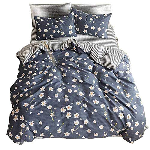 Duvet Cover Set Reversible Cotton Quilt Cover Set Modern Navy Blue Flower Pattern Bedding Sets Collection Queen-3 Pieces from profession
