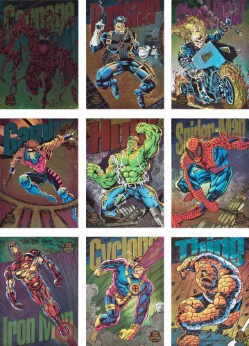 - 1994 Fleer Marvel Universe Series-V New Complete 9-Card Rainbow Border Power Blast Chase Set by Fleer