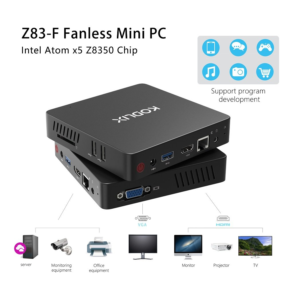 Mini PC, Intel Atom x5-Z8350 Processor (2M Cache, up to 1.92 GHz)4K/4GB/32GB 1000Mbps LAN 2.4/5.8G Dual Band WiFi BT 4.0 Dual Screen Display with HDMI and VGA Ports,Fanless Computer Support Windows 10 by COOFUN (Image #5)