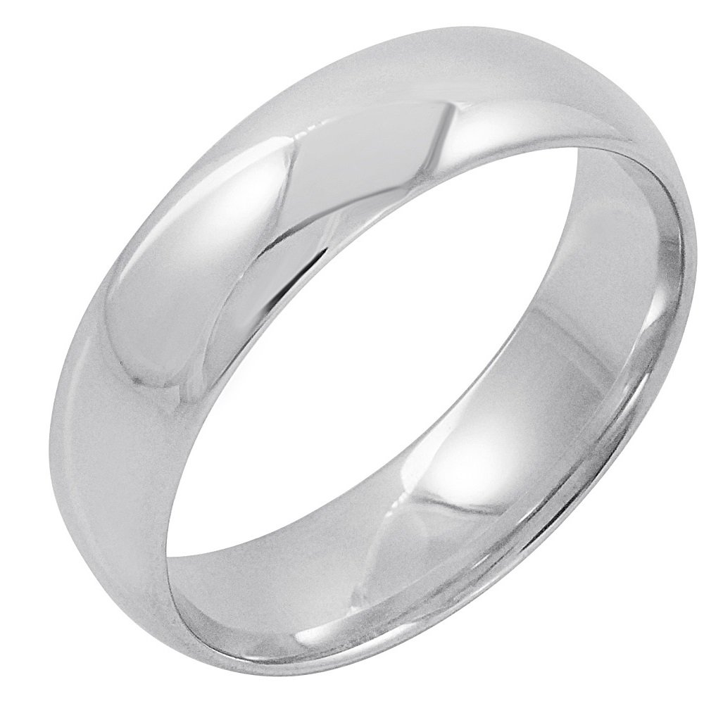Men's 14K White Gold 6mm Comfort Fit Plain Wedding Band (Available Ring Sizes 8-12 1/2) Size 12