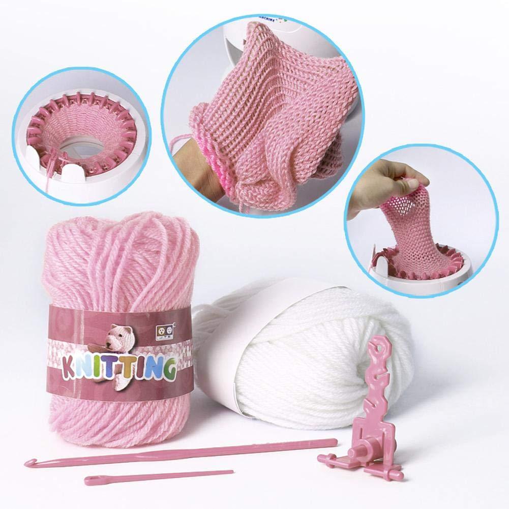 Leiyini Knitting Machine Kids Knitting Kit Smart Weaver Weaving Loom Toy DIY Scarf Hat Sock Educational Toy Small Rabbit Shape Hand Knitting Woven Machine Braiding Tool Home DIY Loom Toy