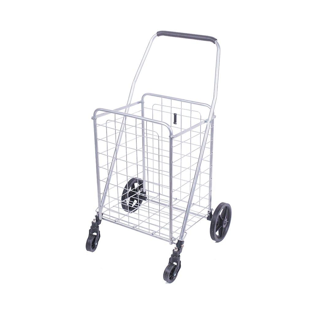折り畳み式ショッピングカート4輪、折りたたみ式、スライディングカート、軽量ショッピングトロリー、クライミングカート、ショッピングトロリー、L46.5 * W33.5 * H92cm、ベアリング重量40kg ( Color : Silver )  Silver B07C3Z97C2