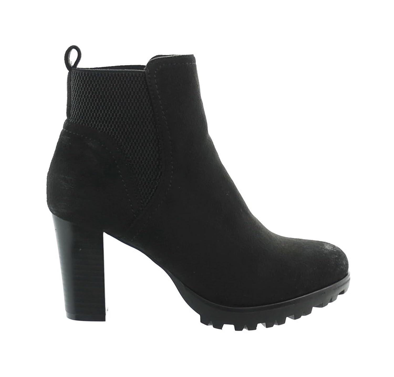Damen Stiefeletten Ankle Boots Plateau Stiefel Schuhe 73 Schwarz