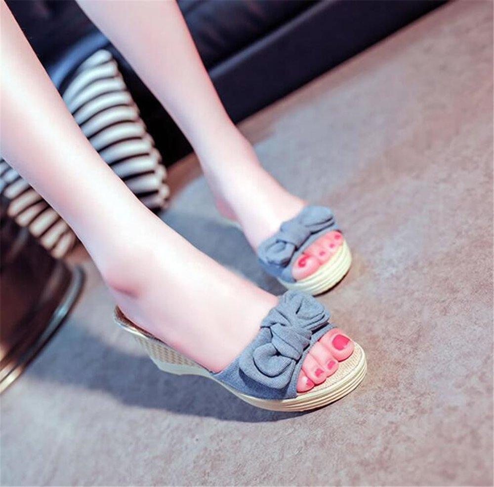 eleganceoo Wedge Lace Sandal for Womens Fashion Lace Wedge Bowknot Bohemian Platform Summer Slip-On Slipper B07DBVZ12D 39/8.5 B(M) US Women Blue bbcec1