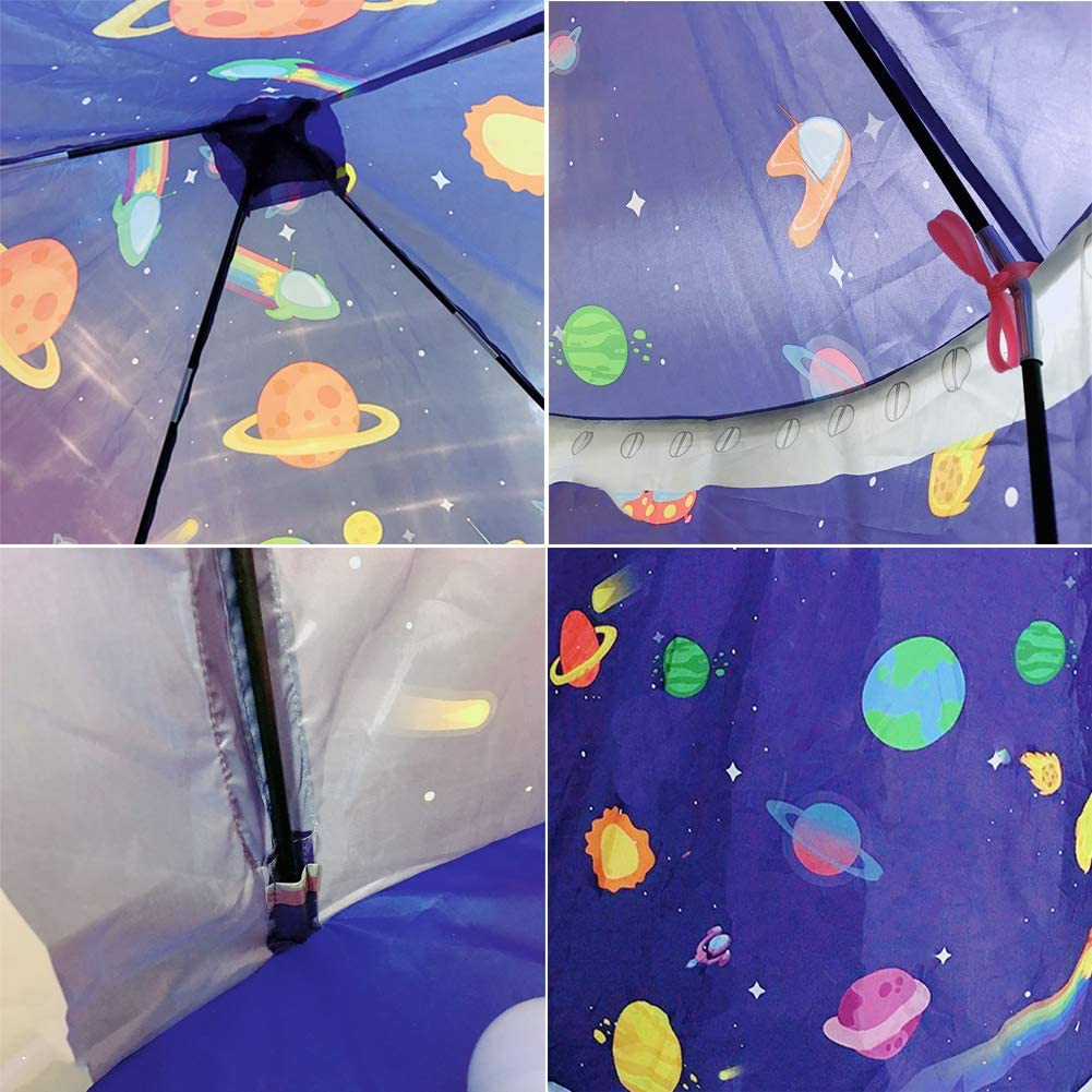 Indoor//Outdoor Use Pop Up Rocket Tent LOJETON 3pc Space Ship Kids Play Tent Storage Tunnel /& Ball Pit with Basketball Hoop for Boys Girls and Toddlers
