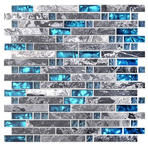 Home Building Glass Tile Kitchen Backsplash Idea Bath Shower Wall Decor Teal Blue Gray Wave Marble Interlocking Pattern Art Mosaics TSTMGT002 1 Sample 12 x 12 Inches