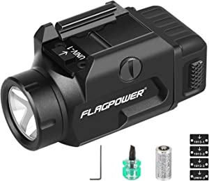 FLAGPOWER 600 Lumens Rail Mounted Weapon Light Tactical Flashlight Gun Pistol Light with Rail Locating Keys, CR123A Lithium Battery