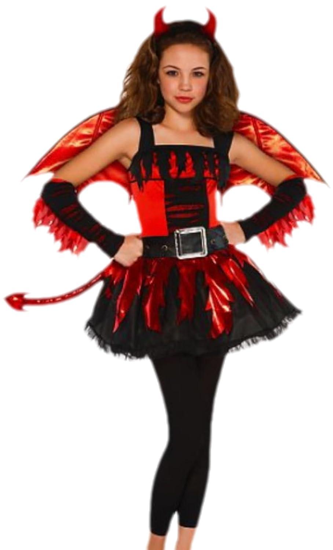 Karnevalsbud - Mädchen Kostüm Dare Devil Teufel Teenager, 14-15 Jahre, L, Mehrfarbig
