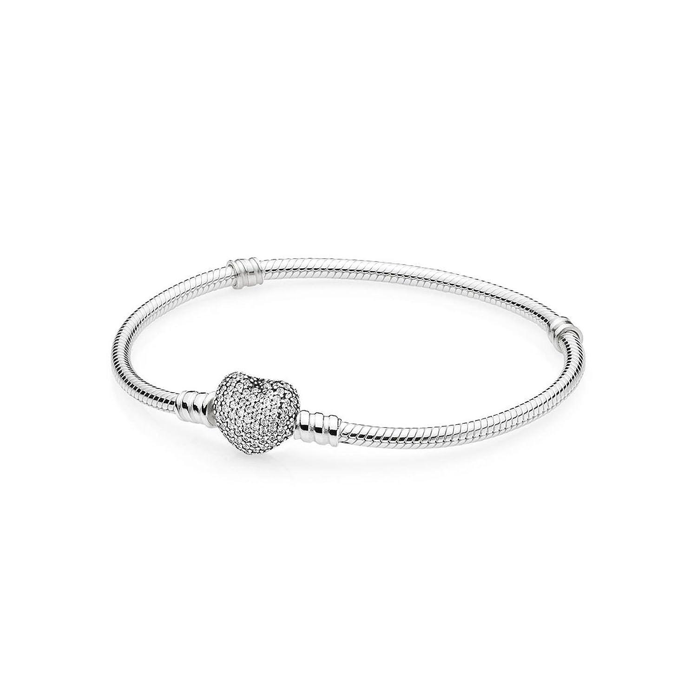 PANDORA 590727CZ-19 Pave Heart Clasp Bracelet 7.5 Inch