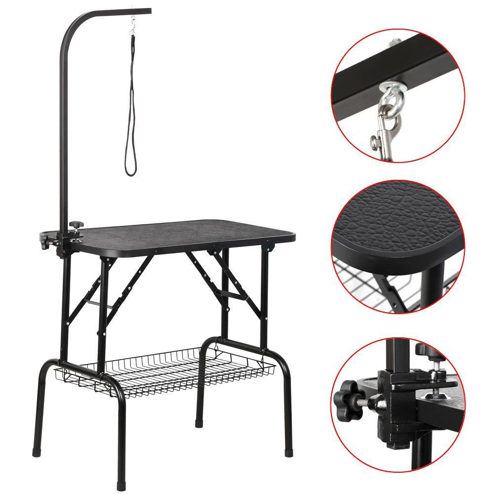 Yaheetech Portable Small Pet Dog Grooming Table Adjustable Height - 32/48-inch Drying Table w/Arm/Noose/Mesh Tray for Small Dogs Cats Non-Slip Maximum Capacity Up to 220lbs Black (32'') by Yaheetech