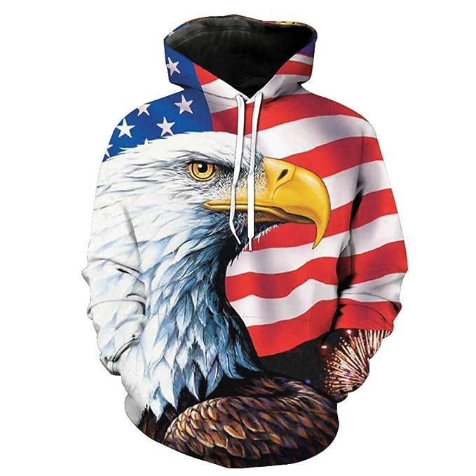 American Flag Eagle Impreso Hombres Mujeres Sudadera con Capucha Sudaderas con Capucha Casuales: Amazon.es: Ropa y accesorios