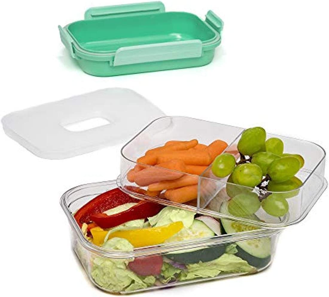 Goodful Multi-Compartment Bento Lunch Box Meal Prep Plastic Food Storage Container with Ice Pack, Easy to Open, 48-Ounce, Green